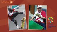 Banner Peraih Medali Termuda dan Tertua Asian Games 2018. (Liputan6.com/Triyasni)