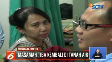 Didampingi staf Kedubes Indonesia di Arab Saudi, Masamah tiba di Bandara Soekarno Hatta, Cengkareng, Tangerang, Banten, pada Minggu dini hari.
