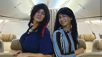 Baim Wong dan Raffi Ahmad berdandan ala Wanita (dok. instagram @baimwong/ https://www.instagram.com/p/BtraiHFH3RU/ Adinda Kurnia)
