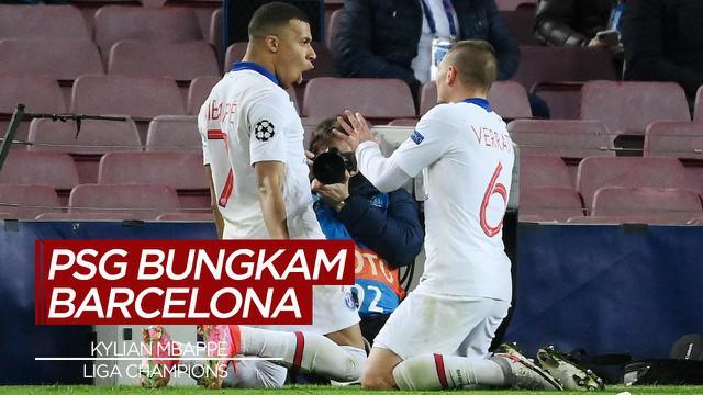 Berita Video Highlights Liga Champions, Hattrick Kylian Mbappe Bawa PSG Menang atas Barcelona 4-1