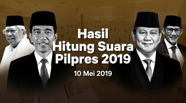 Berikut hasil hitung suara Pemilu 2019 yang sudah masuk di situs pemilu2019.kpu.go.id pada Jumat 10 Mei 2019.