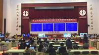 Suasana ruang Counting and Information Center yang dibuat oleh Central Election Commission (CEC). Terdapat layar besar yang akan menampilkan hasil real count (Liputan6.com/Teddy Tri Setio Berty)
