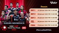 Streaming babak kualifikasi BWF World Tour Finals 2020 hari kedua, Kamis (28/1/2021) pukul 11.00 WIB dapat disaksikan melalui platform Vidio. (Dok. Vidio)