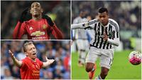 Kabar transfer terkini, Rabu (28/12/2016), diwarnai niat Manchester United dan Manchester City mendatangkan pemain Juventus. (AFP)