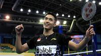 Tunggal putra Jonatan Christie ikut menyumbang poin saat Indonesia kalahkan China 3-1 pada final Kejuaraan Bulutangkis Asia Beregu 2018, Minggu (11/2/2018). (PBSI)