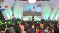 Presenter Najwa Shihab menjadi salah satu pembicara dalam sesi Inspiring Talk di forum Emtek Goes to Campus (EGTC) yang digelar di Auditorium UPN Veteran Yogyakarta. (Liputan6.com/ Switzy Sabandar)