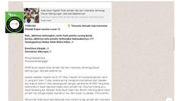 Informasi jemaah haji Indonesia ditolak Arab Saudi karena utang akomodasi bukan karena Covid-19