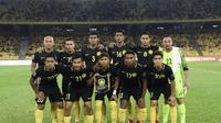 Timnas Malaysia menang 7-0 atas Bhutan dalam laga uji coba di Stadion Bukit Jalil, Minggu (1/4/2018). (Bola.com/Dok. FAM)