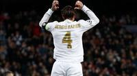 Selebrasi bek Real Madrid, Sergio Ramos usai membobol gawang Galatasaray pada lanjutan Liga Champions, Kamis (7/11/2019). (Dok. Twitter/realmadrid)