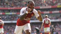 Alexandre Lacazette menyumbang dua gol saat Arsenal melawan West Ham United pada laga pekan ke-35 Premier League. (doc. Arsenal FC)