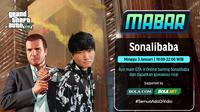 Main bareng GTA V bersama Sonalibaba, Minggu (3/1/2021) pukul 19.00 WIB dapat disaksikan melalui platform streaming Vidio, laman Bola.com, dan Bola.net. (Dok. Vidio)