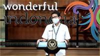 Sandiaga Uno menjelaskan kerja dari Bali (Work From Bali) akan mengikutsertakan ASN sebanyak 25 persen (Liputan6.com/Komarudin)