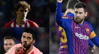 Luis Suarez menyarangkan dua gol saat Barcelona mengkandaskan perlawanan Eibar. Raihan terebut membuat gol Luis Suarez hanya terpaut tiga gol saja dari sang pemuncak, Lionel Messi (Kolase Foto AFP)