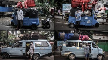 Foto kombinasi para sopir angkot dan bajaj berpose di kawasan Kramat Pulo, Senen, Jakarta Pusat, Selasa (22/6/2021). Bagi para sopir, menjadi pengangkut ondel-ondel merupakan kerja sampingan yang sangat membantu perekonomian mereka. (merdeka.com/Iqbal S. Nugroho)