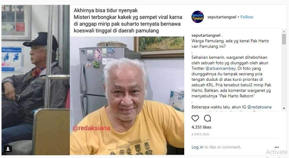 Jika dilihat dari bentuk fisik, kakek ini tampak memiliki tubuh lebih langsing dan terlihat lebih tinggi dibandingkan dengan sosok mendiang Soeharto. (Instagram seputartangsel)