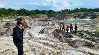 Lokasi penambangan pasir ilegal di Kabupaten Bengkalis yang dibongkar oleh Polda Riau. (Liputan6.com/M Syukur)