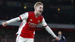 Tiga gol kemenangan Arsenal masing-masing dicetak oleh Thomas Partey, Pierre-Emerick Aubameyang, dan Emile Smith Rowe. (AP/Ian Walton)
