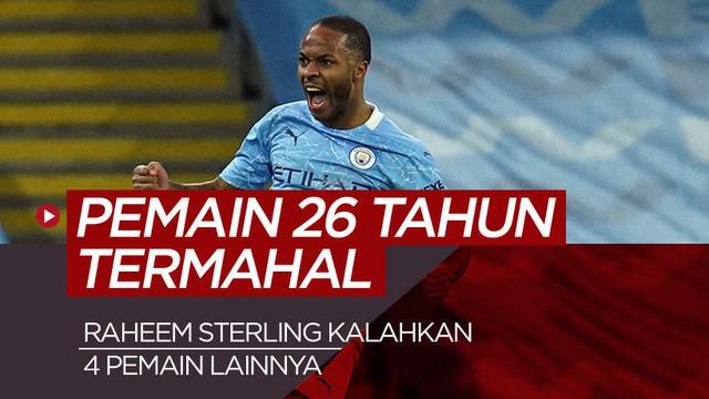 Berita motion grafis pemain usia 26 tahun termahal di liga top Eropa, tertinggi Raheem Sterling.