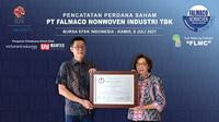 Pencatatan saham perdana PT Falmaco Nonwoven Industri Tbk pada Kamis, 8 Juli 2021 (Dok: BEI)
