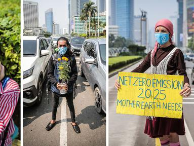 Foto kombinasi menunjukkan sejumlah aktivis lingkungan hidup saat menggelar aksi serempak Joget Jagat: Diam Berarti Tenggelam di kawasan Jalan Mh. Thamrin, Jakarta, Kamis (22/4/2021). Aksi tersebut untuk memperingati Hari Bumi. (Liputan6.com/Faizal Fanani)