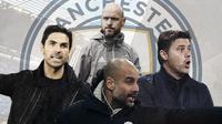 Pep Guardiola, Mikel Arteta, Erik ten Hag dan Mauricio Pochettino. (Bola.com/Dody Iryawan)
