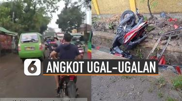 Beredar video aksi ugal ugalan sopir angkot tabrak kendaraan bermotor dan sebuah warung di Jalan Ciparay - Baleendah, Jawa Barat.