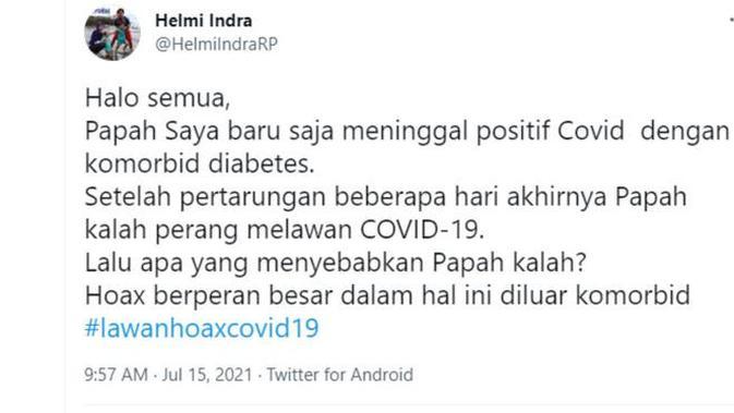 Information on Helmi Indra's account, @HelmiIndraRP on 15 July 2021. (Twitter/@HelmiIndraRP)