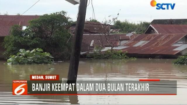 Kondisi ini merupakan banjir keempat dalam kurun waktu dua bulan terakhir di Kelurahan Beringin, Kecamatan Medan Selayang, Sumatera Utara.