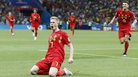 Gelandang Belgia, Kevin De Bruyne, merayakan gol yang dicetaknya ke gawang Brasil pada laga perempat final Piala Dunia di Kazan Arena, Kazan, Jumat (6/7/2018). Belgia menang 2-1 atas Brasil. (AP/Frank Augstein)