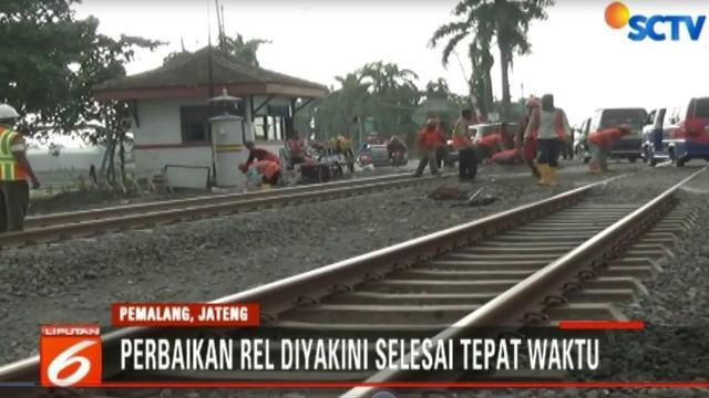 Kepala Stasiun Pemalang yakin seluruh perbaikan jalur dari Lawangrejo hingga Ulujami itu akan selesai dalam beberapa hari ini.