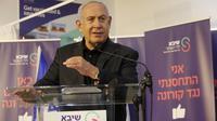 Perdana Menteri Israel Benjamin Netanyahu berbicara setelah menerima vaksin COVID-19 di Pusat Medis Sheba, Kota Ramat Gan, Israel, 19 Desember 2020. Vaksinasi virus COVID-19 untuk Netanyahu ditayangkan secara langsung di televisi pada Sabtu (19/12) malam. (Xinhua/Gil Cohen Magen)