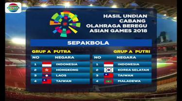 Berita video pengundian cabang olahraga beregu Asian Games 2018, di mana Timnas Indonesia U-23 segrup dengan Hong Kong, Taiwan, dan Laos. (Video: Indosiar)