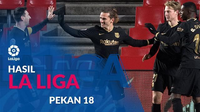 Berita motion grafis hasil Liga Spanyol 2020/2021 pekan ke-18, Barcelona menang besar saat bertandang ke markas Granada.