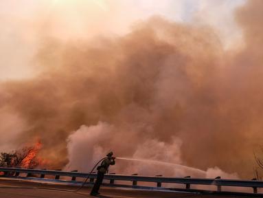 Petugas pemadam kebakaran berusaha memadamkan api di sepanjang Ronald Reagan (118) Jalan Bebas Hambatan di Simi Valley, Californnia (12/11). Api  melahap ribuan hektare hutan dan menghancurkan banyak rumah di California, AS. (AP Photo / Ringo H.W. Chiu)