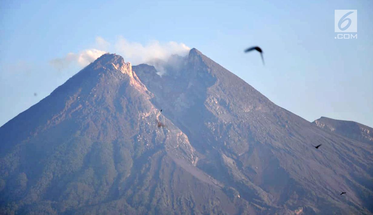 Hasil gambar untuk Pemandangan saat Gunung Merapi mengeluarkan asap terlihat dari Kaliadem