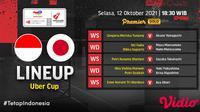 Link Live Streaming dan Susunan Pemain Indonesia vs Jepang Piala Uber di Vidio Hari Ini