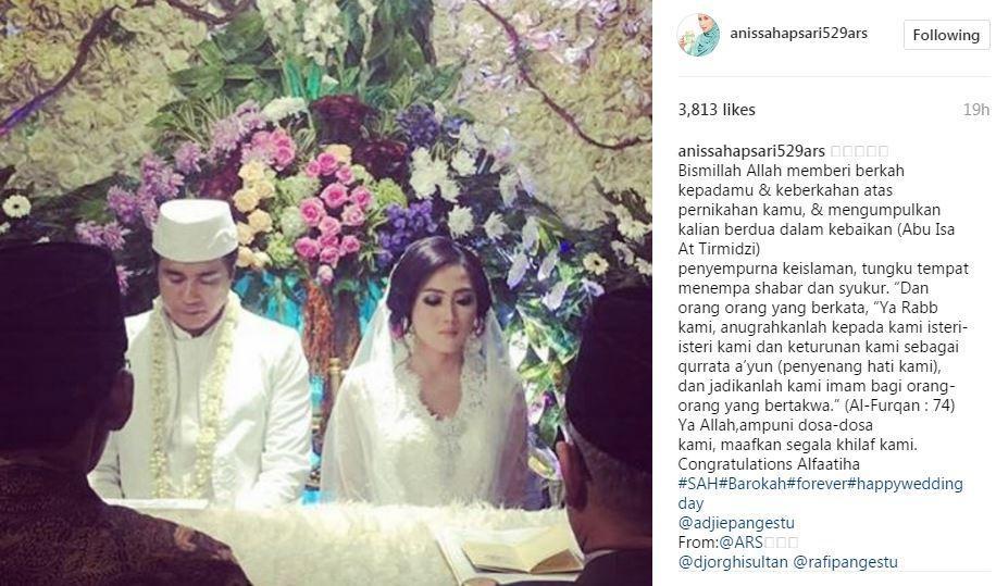 Annisa Trihapsari ikut bahagia atas pernikahan Adjie Pangestu dan Novita Petria [foto: instagram]