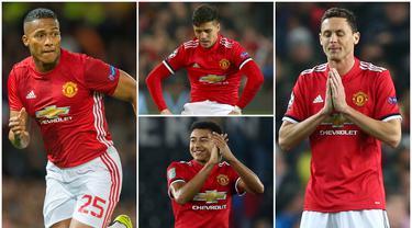 Lima penggawa Manchester United mengalami penurunan poin pada gim FIFA 19. Penurunan masing-masing item pada ranking lima pemain tersebut karena pemain tampil tidak konsisten untuk Setan Merah. (Foto Kolase AP, EPA dan AFP)