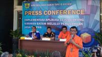 Konferensi pers implementasi aplikasi ceisa barang kiriman Batam melalui perusahaan jasa titipan (Foto:Liputan6.com/Ajang Nurdin)