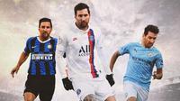 Ilustrasi - Lionel Messi, Inter Milan, PSG, Manchester City (Bola.com/Adreanus Titus)