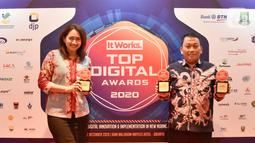 PT Askrindo meraih penghargaan dalam acara TOP Digital Awards 2020 sebagai TOP DIGITAL Implementation 2020 on Insurance Sector, Top Leader on Digital Implementation dan TOP Digital Transformation Readiness 2020. (Liputan6.com/Pool/Askrindo)