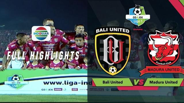 Berita video highlights Gojek Liga 1 2018 bersama Bukalapak antara Bali United melawan Madura United yang berakhir dengan skor 2-0, Sabtu (03/11/2018).