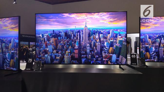 Penampakan TV QLED 8K jadi primadona di Samsung Forum 2019. (Liputan6.com/ Tommy Kurnia)