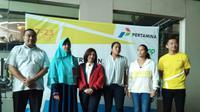 Sekretaris Jendral PP Pelti, Lani Sardadi saat konfrensi pers kejuaraan tenis internasional, Pertamina 25 K ITF Women's Circuit. (Liputan6.com/Cakrayuri)