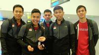 Para pebulutangkis Indonesia yang akan berlaga di Piala Sudirman 2019 sudah bertolak dan tiba di Nanning, China, Rabu (15/5/2019). (PBSI)