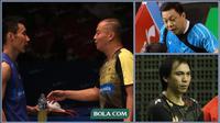3 pelatih Indonesia di bulutangkis Malaysia, Hendrawan (tunggal putra), Flandy Limpele (ganda putra), Paulus Firman (ganda campuran, dan satu lagi Indra Wijaya (tunggal putri). (Foto Dok Bola.com, PBSI, dan PB Djarum)