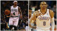 Pemain Boston Celtics, Isaiah Thomas (kiri), dan bintang Oklahoma City Thunder, Russell Westbrook, dinobatkan sebagai Pemain NBA Pekan Ini. (sportingnews)