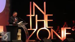 Susilo Bambang Yudhoyono saat menjadi pembicara di konferensi internasional 'In The Zone' di Jakarta, Sabtu (14/5). Konferensi ini membahas khususnya dalam memenuhi kebutuhan konsumen di tengah melnjaknya populasi manusia. (Liputan6.com/Angga Yuniar)