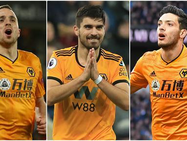 """Wolverhampton Wanderers menjadi tim yang pantas diwaspadai oleh tim-tim besar lainnya di kompetisi musim 2019/2020 Premier League. Tim berjuluk """"The Wolves"""" ini bisa disebut sebagai kuda hitam di Premier League. Berikut pesona bintang Wolves di Premier League. (kolase foto AFP)"""