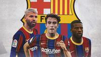 Barcelona - Sergio Aguero, Eric Garcia, Georginio Wijnaldum (Bola.com/Adreanus Titus)